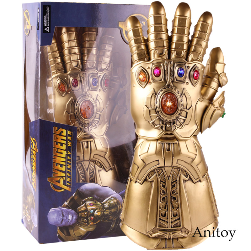 High Quality Avengers Infinity War Thanos Gauntlet Glove Infinite Gloves with LED Light PVC Action Figure Collectible Model Toy