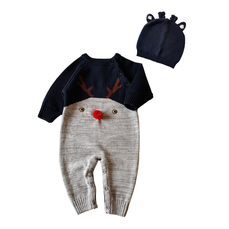 Cotton Thread Baby Rompers Christmas Baby 2pcs Clothes Set Deer Shaped Jumpsuits+Cap Suits Autumn Clothes Boys Girl Outerwear cotton baby rompers set newborn clothes baby clothing boys girls cartoon jumpsuits long sleeve overalls coveralls autumn winter