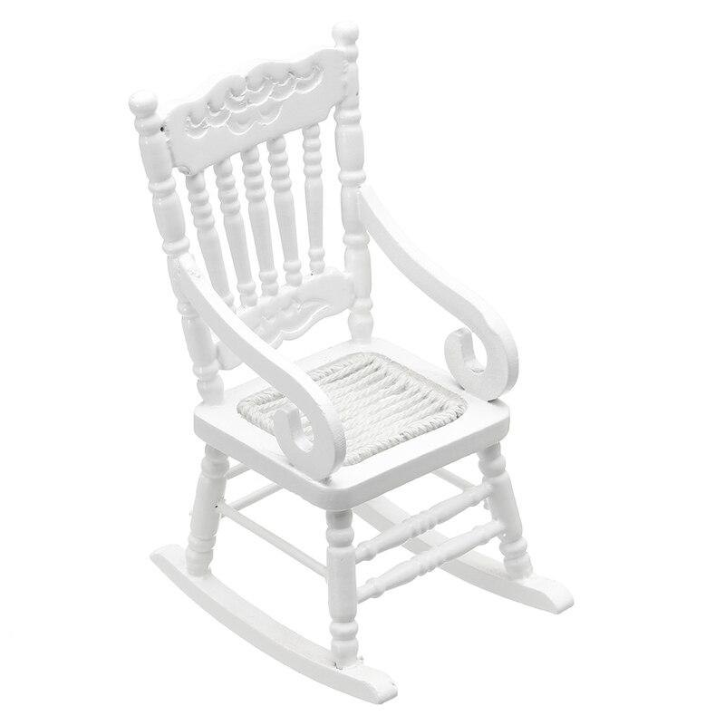 kiwarm fashion 112 dollhouse miniature furniture white wooden rocking chair hemp rope seat for home kids gift doll toys craftin figurines u0026 miniatures white wooden rocking chair l71 white
