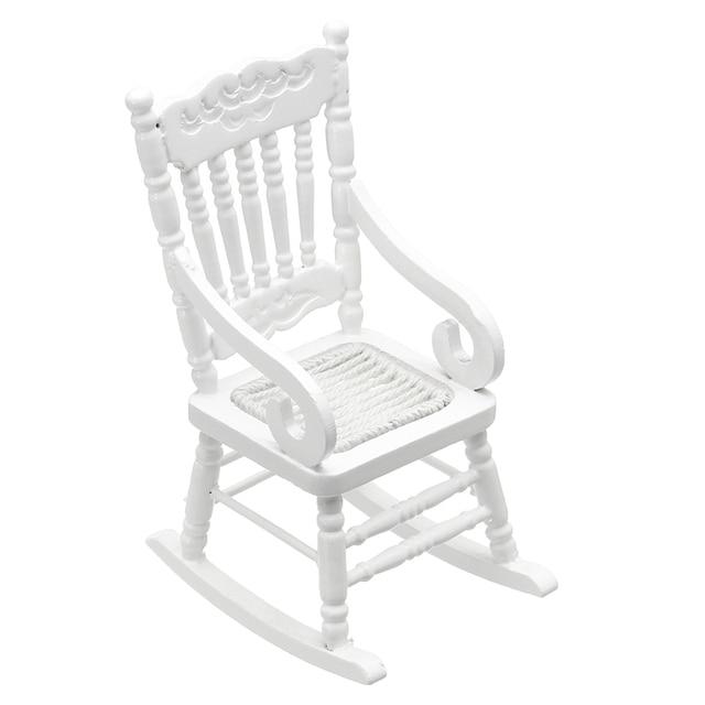 Kiwarm moda 1:12 Dollhouse miniatura Muebles blanco mecedora de ...