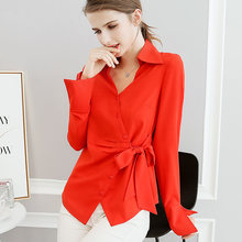 4295de43f0a BIBOYAMALL Women Blouse Red Shirt Top Femme Fashion Casual Long Sleeve OL  Work Sliod Blouses Women s Shirts Beige plus size