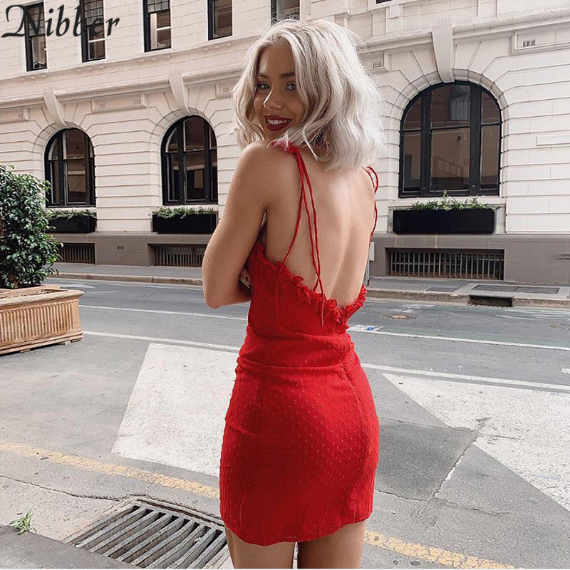 Nibber red ruffle sexy summer holiday Women mini dress off shoulder lace up Casual home clothing short beach club mini dress dot