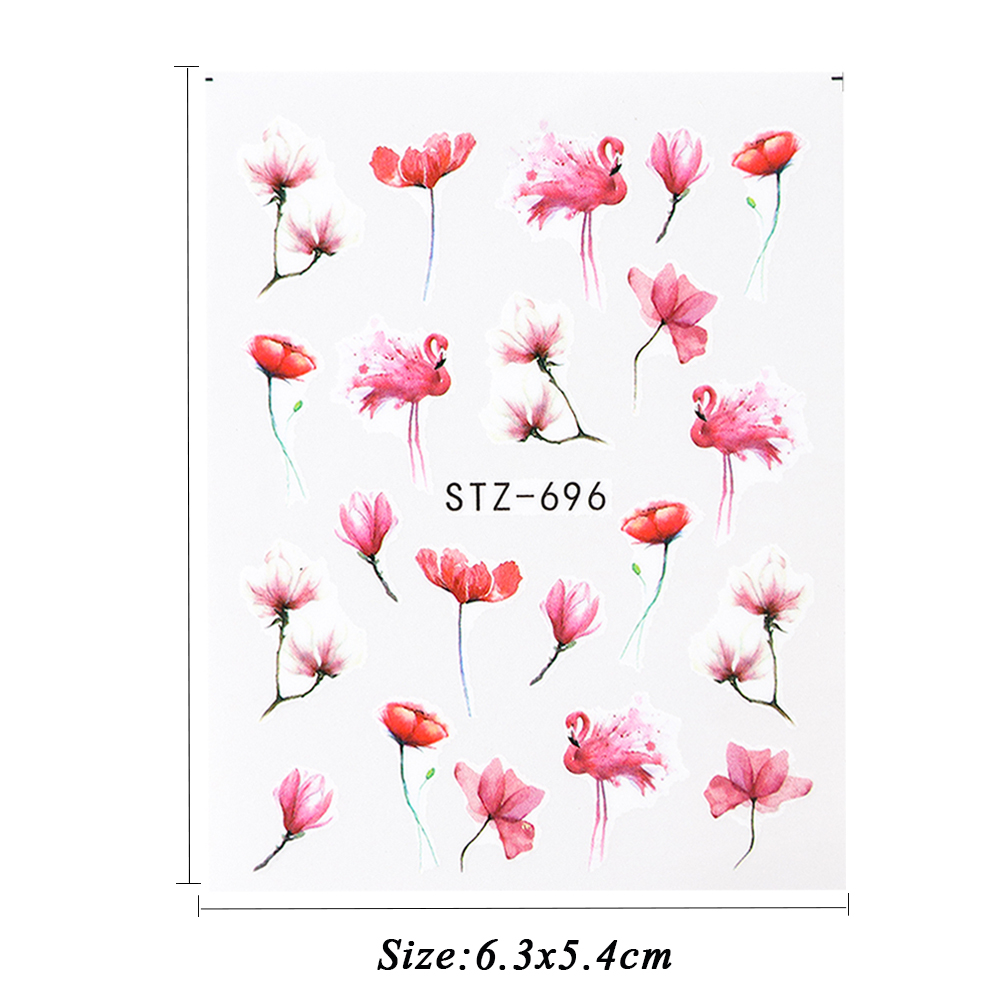 Image 4 - 1pcs Floral Slider Water Stickers Decal For Nail Art Transfer Tattoo Flamingo Leaf Gel Manicure Adhesive Decor Tip CHSTZ508 706-in Stickers & Decals from Beauty & Health