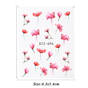 Image 4 - 1pcs Floral Slider Water Stickers Decal For Nail Art Transfer Tattoo Flamingo Leaf Gel Manicure Adhesive Decor Tip CHSTZ508 706