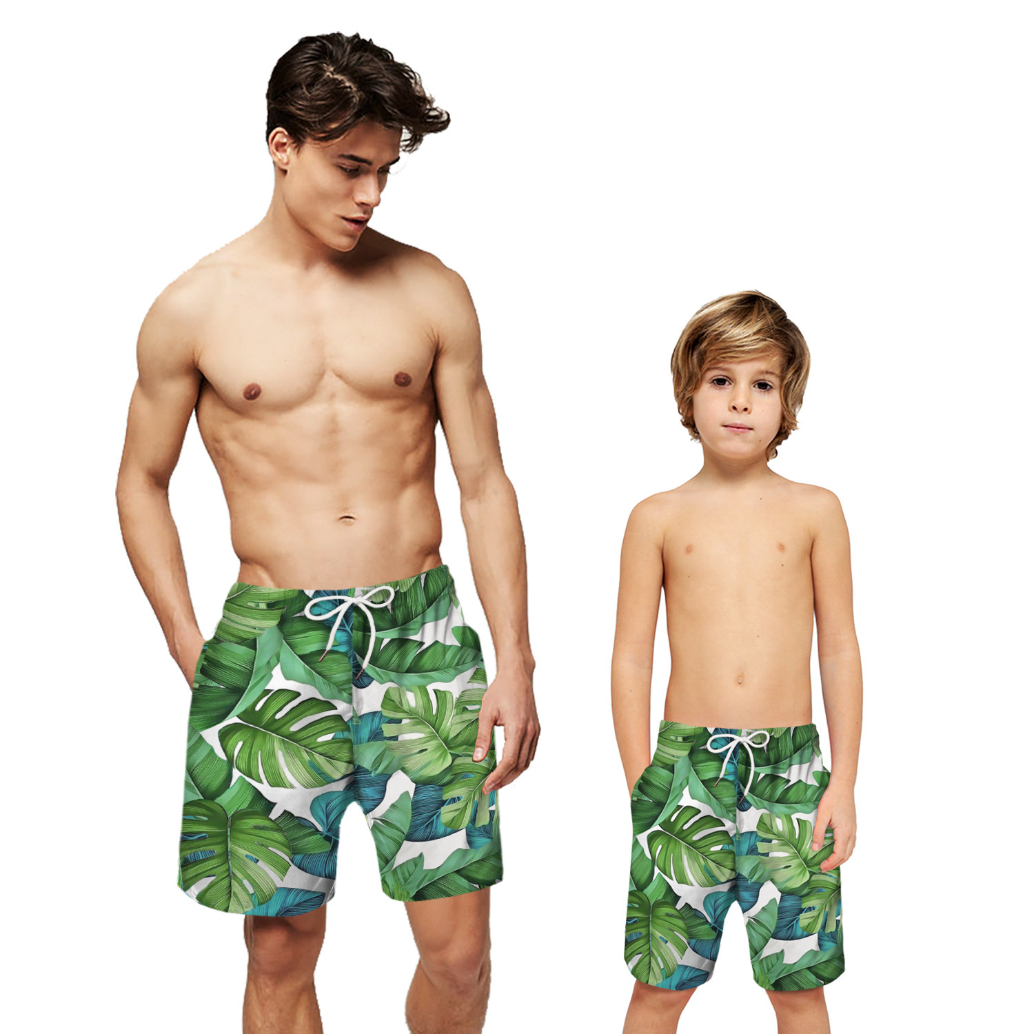 Leaf Print   Board     Shorts   Men Boys Mens Beach   Shorts   Father Son Swimming   Short   Swim Trunk Surf Boardshorts Water Sport Bath Suit