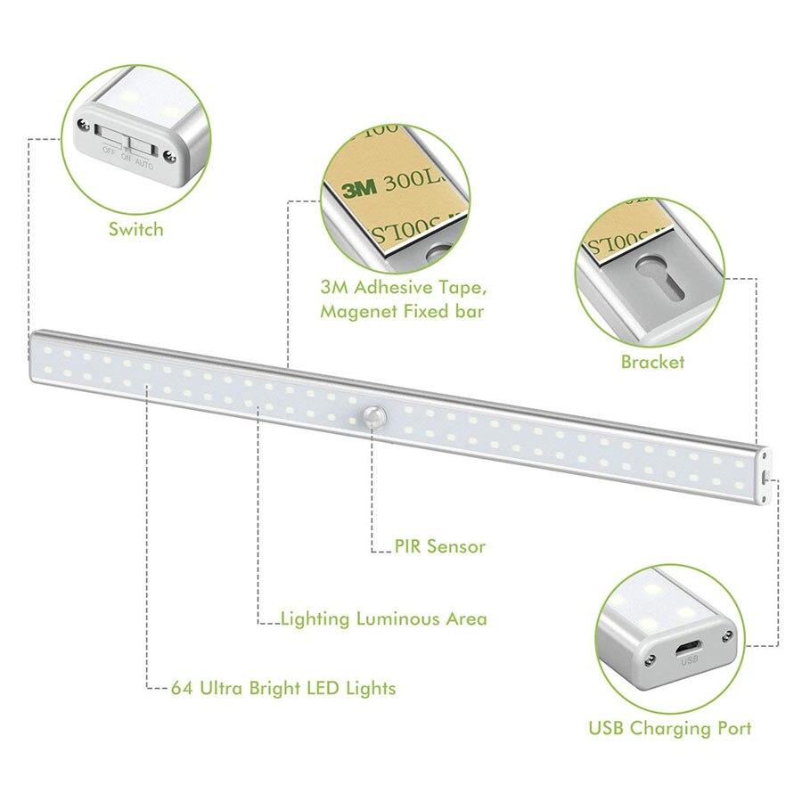 20/36/64 светодиодов USB перезаряжаемая светодиодная подсветка под шкаф PIR датчик движения шкаф ночной Светильник для шкафа кухонный шкаф