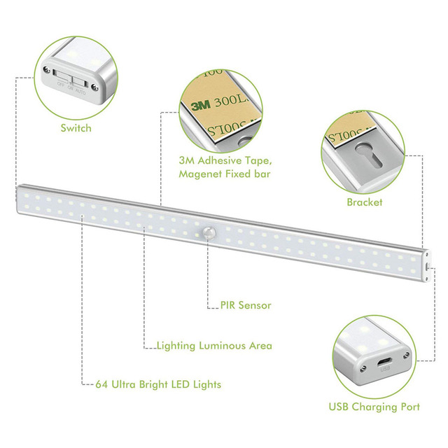 20/36/64LEDs USB Rechargeable LED Under Cabinet Light PIR Motion Sensor Cabinet Closet Night Light for Wardrobe Cupboard Kitchen