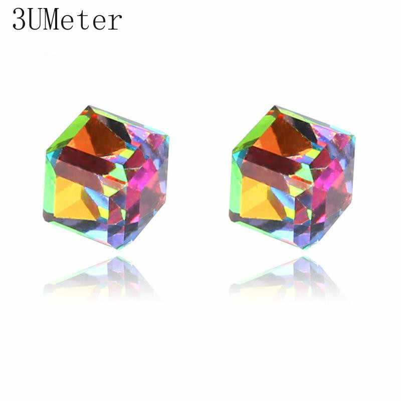 3UMeter Cubic Zircon Earrings Party Crystal Colorful Rhinestone Geometric Water Cube Strong Magnetic Iron No Piercing Ear Clip