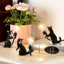 Art White Black Grey Cat Kitty Desk Lights lamp EU/USA plug Small Animal Table Lamp Lights Kids' Gift Room Decorate night light