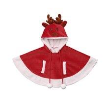 Рождественская модная Милая для малышей для девочек куртка для мальчиков теплая верхняя одежда накидка Носки с рисунком медведя из мультика принтом пуловер с капюшоном красное пальто От 6 месяцев до 4 лет