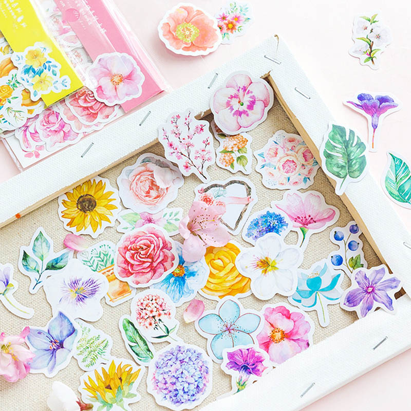 45 pcs/bag Kawaii Bullet Journal Cute Diary Flower Stickers Scrapbooking Japanese Stationery Decoration  Office School Supplies plan
