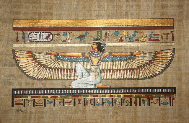 "Egyptian Wall Decor wall decor egyptian papyrus ""winged isis"" hand painted on 100"