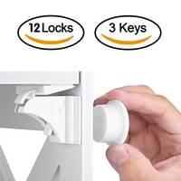 12 + 3 piezas de bloqueo magnético para niños seguridad para bebés, cerradura de puerta para puerta, cerradura para cajón para niños, cerraduras invisibles de seguridad