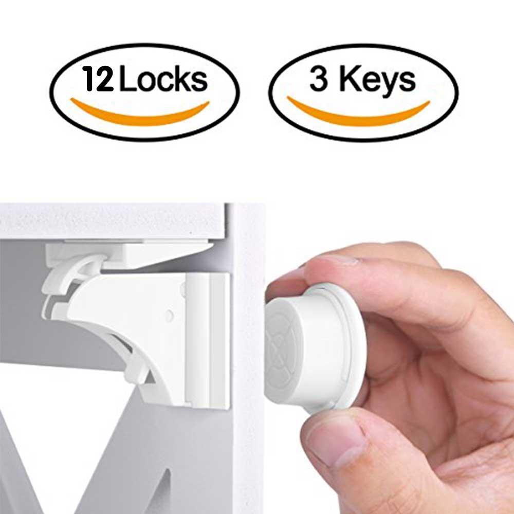 12 + 3 piezas magnético de los niños de bloqueo de seguridad del bebé protección cerradura de la puerta del gabinete cajón armario de seguridad Invisible cerraduras