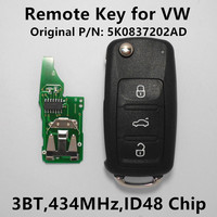 Remote Key 433MHz ID48 Chip For VW Volkswagen GOLF PASSAT Tiguan Polo Jetta Beetle Car Alarm