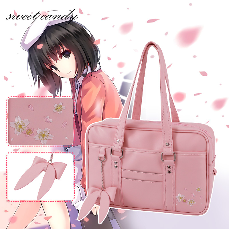 Sakura Japanese Student Bags handbags high school students JK Uniform bag unisex shoulder bag PU leather