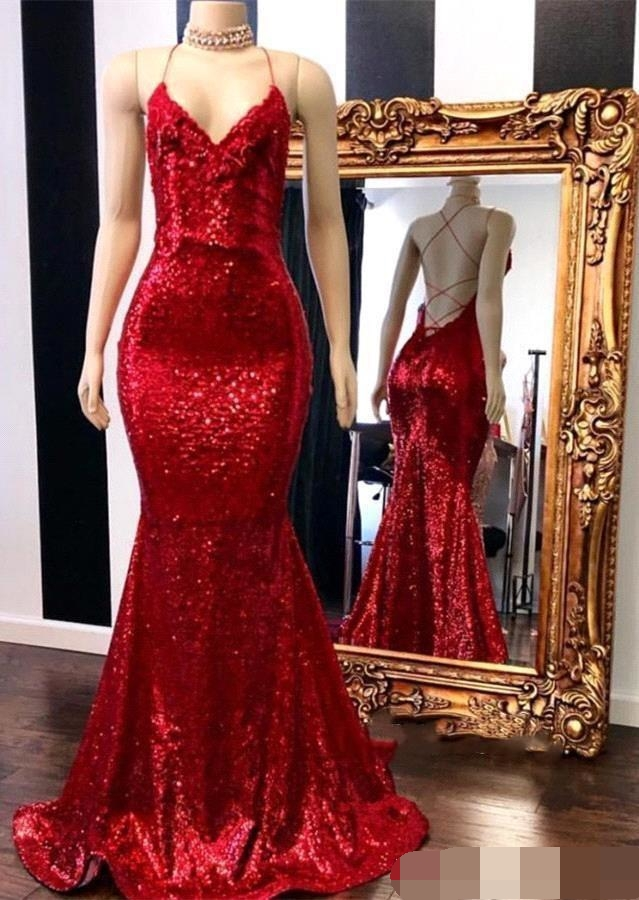 Hot Shinning Sequins Red Mermaid Evening Dresses Sexy Criss Cross Backless robe de soiree Formal evening dress 2019 Prom Gown in Evening Dresses from Weddings Events