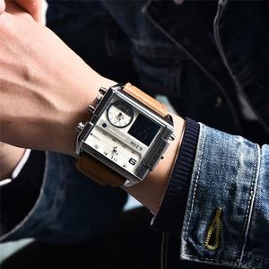 Image 4 - Novo design led dígito display duplo relógios masculinos tamanho grande quadrado dial couro esporte masculino relógios de pulso marca luxo masculino