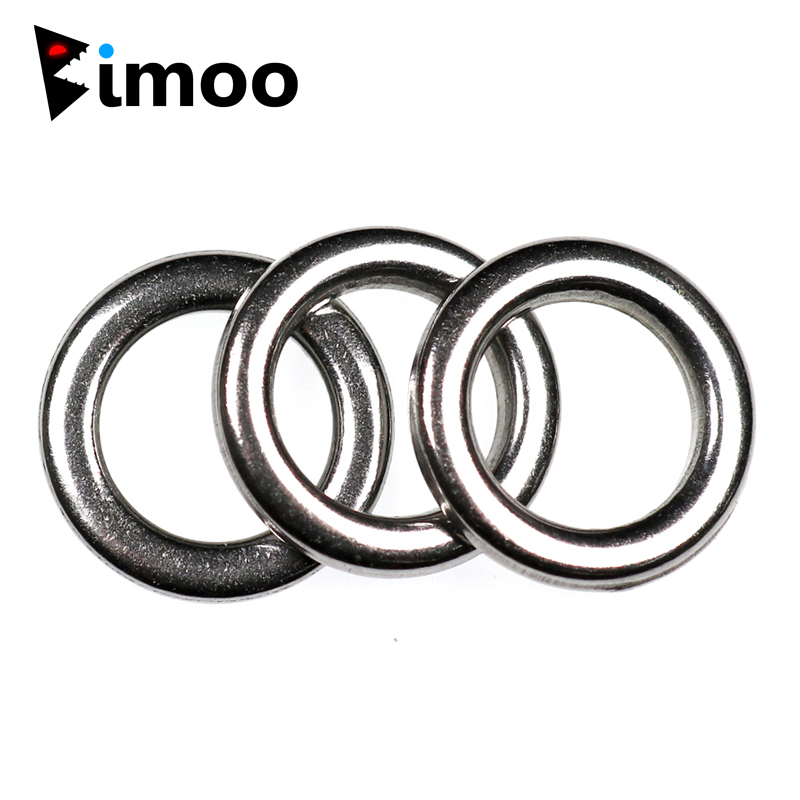 Bimoo 20pcs Fishing Solid Ring Stainless Steel Fishing Ring Fishing Accessories Heavy-duty Lures Lead Jigging Ring