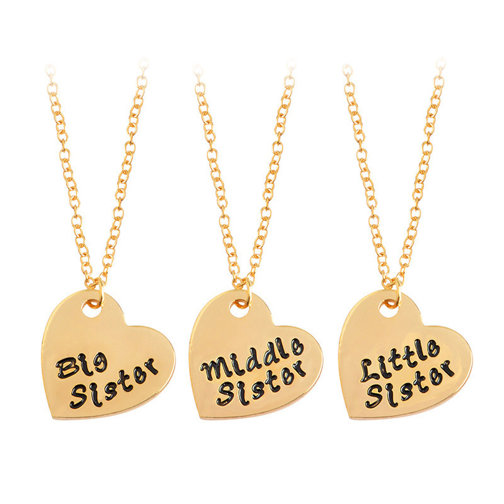3pcs/Set Gold And Silver Plated Loving Family BFF Necklace Big / Mid / Lit Sis Sisters Girlfriends Love Necklace Womens Gift