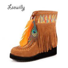 Lsewilly/Сапоги с бахромой в индийском ретро стиле из флока с перьями и массивной женские ботинки с низким голенищем кисточки обувь большого размера Размеры 34–43 AA555