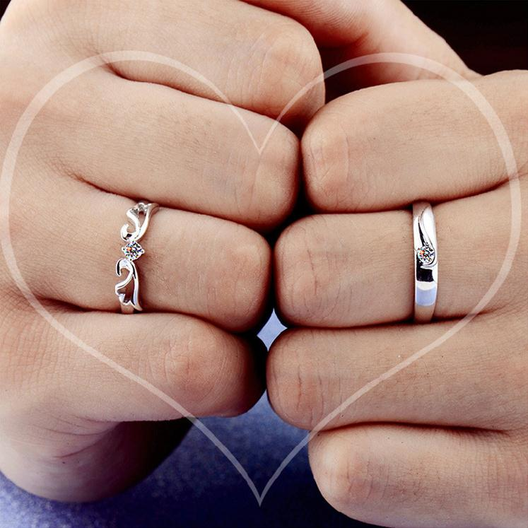 100 925 sterling silver fashion shiny crystal lovers couple rings jewelry female men s open ring no fade wholesale wedding gift in Engagement Rings from Jewelry Accessories