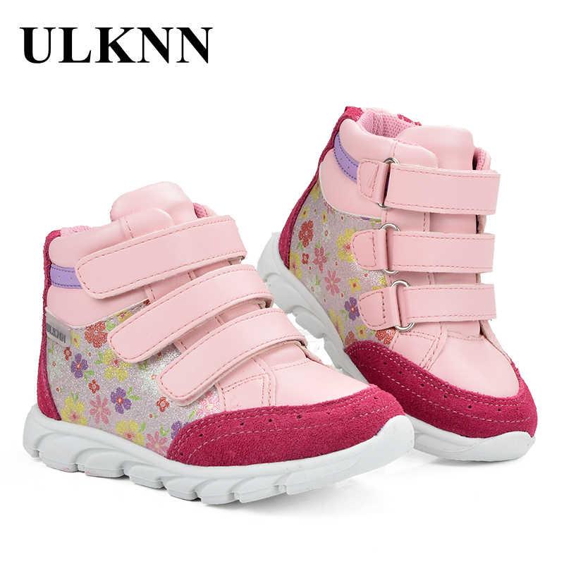 ULKNN Giày Sneakers Trẻ Em Cho Bé Gái Giày Trẻ Em Giày Bít Sabo Da Thật Chính Hãng Da Massage Họa Tiết Hoa tenis infantil Menina Chạy Thể Thao