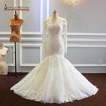 Full Beading Sleeves Mermaid Wedding Dress Boat Neckline 2019