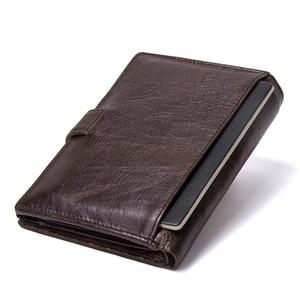 Image 2 - CONTACTS Top qualité véritable portefeuille en cuir de vache hommes moraillon Design court sac à main avec passeport porte Photo pour hommes portefeuilles dembrayage
