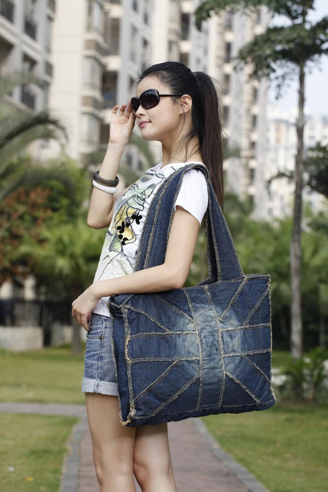 ФОТО 2017 New Handbag Bolsos Large Capacity Denim Shoulder Bag High Quality Women Jeans Designer With Strong Handles Classical Color