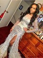 2016 Sexy Split Side Feather Evening Dress High Neck Long Sleeves Zipper Back Party Prom Dresses robe de soiree