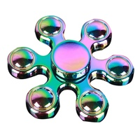 Low Price Creative Six-star bead colored Spinner Fidget Toy Plastic Hand Spinner For Autism and ADHD Rotation Time Anti Stress