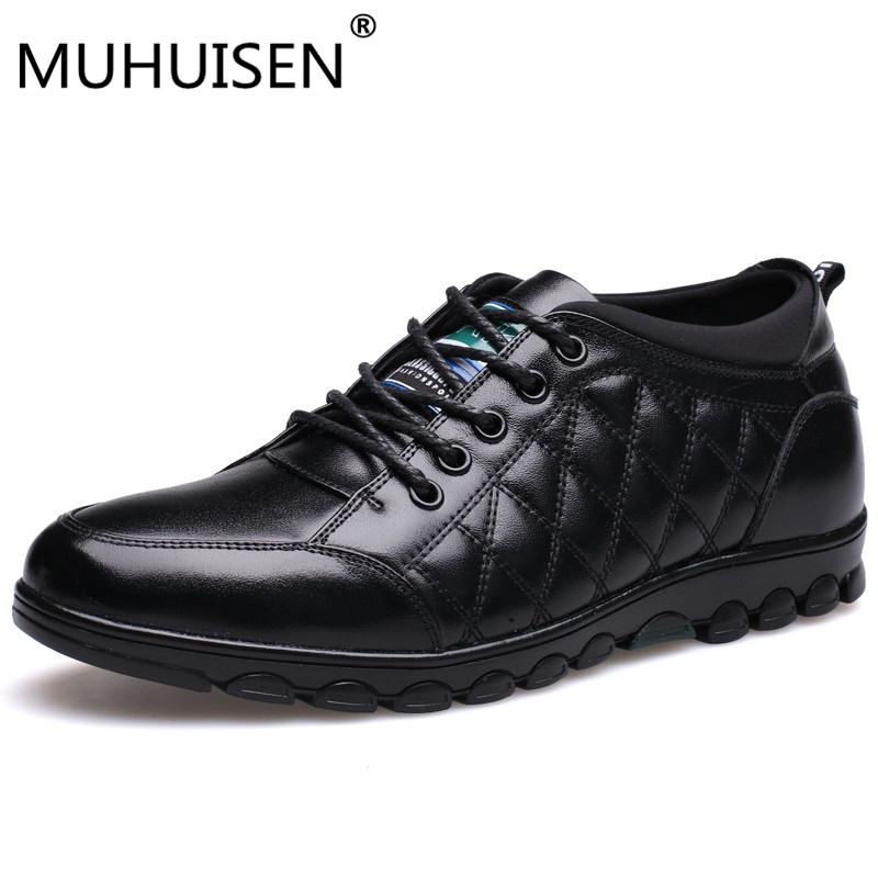 MUHUISEN Casual Shoes Men Genuine Leather Hidden Heels Height Increasing 5CM Lace-Up Flats Male Fashion Comfortable Walk Shoes genuine leather men casual shoes plus size comfortable flats shoes fashion walking men shoes