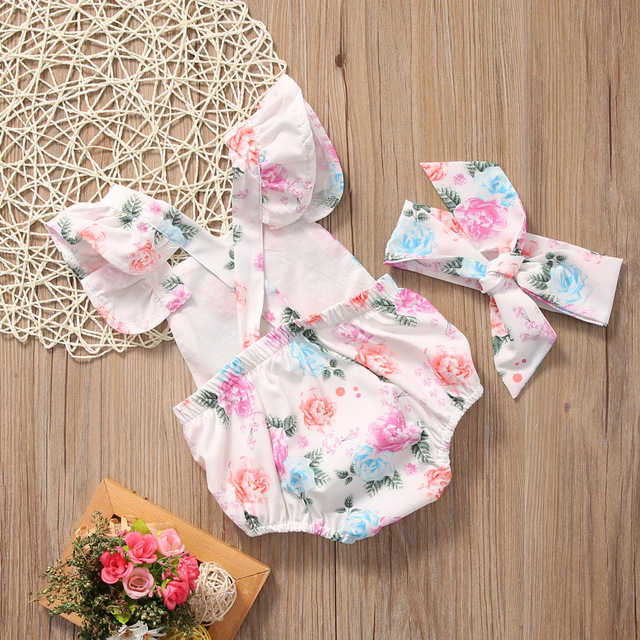 Baby Girl Pink Floral Short Sleeve Romper