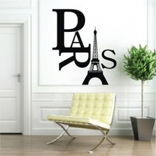 2016  Fashion Paris Eiffel Tower Removable PVC Wall Sticker Home Decor  For Kids Room Decor Art Decal Free shipping!