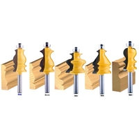 5Pc 8Mm Shank Casing&Base Molding Router Bit Set Cnc Line Knife Woodworking Cutter Tenon Cutter For Woodworking Tools