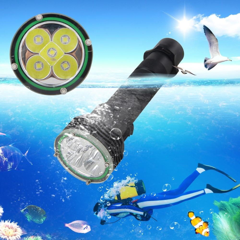 Underwater 100M Diving Scuba 10000lm 5x XM-L2 LED Flashlight Torch Light 18650 black red 1800lm cree xm l2 led scuba diving flashlight torch 18650 light underwater 100m