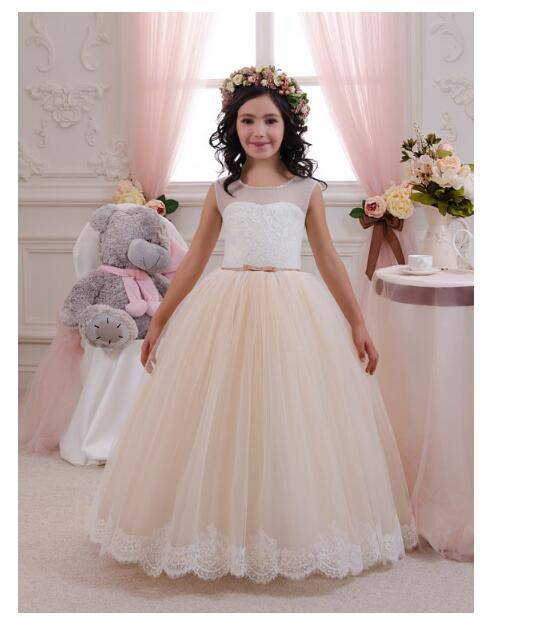 Girls Wedding Formal Dresses 2018 Sleeveless Lace Gauze Flowers Girls Princess Dress Kids Long Birthday Party Prom Dress White цены