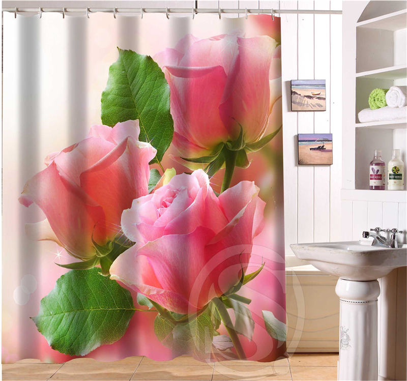 European Style Custom Romantic Pink Roses Shower Curtain Polyester Fabric Printing Bathroom Waterproof With Hook