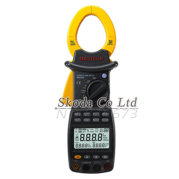 Free shipping MASTECH Digital Power Clamp Meter MS2205 3 Phase Harmonic Tester RS232 Interface Power Meter