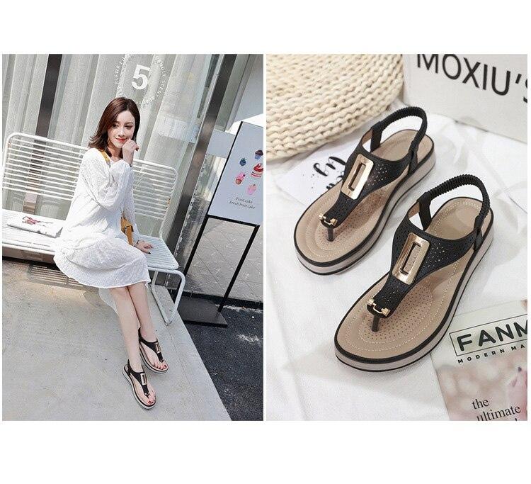HTB1M94kbtfvK1RjSspoq6zfNpXae TIMETANGSummer Platform Flip Flops Women Solid Color Beach Sandals Soft Leather Comfortable Low Heels Flats Shoes Metal Big Size