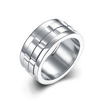 Jenia Fashion Men 316L Titanium Steel Jewelry Ring 10mm Wide US Size 7 10 Retail Wholesale