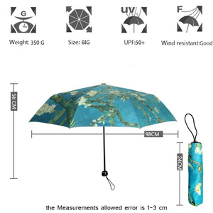 Image 2 - فنسنت فان جوخ مظلة زهر اللوز النفط اللوحة 8 إطار مقاوم للريح الضلع للنساء المحمولة ثلاثة مظلة الفن للطي