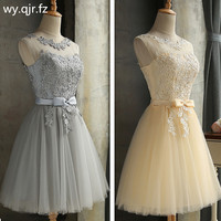 HJZY65X#Lace up Champagne grey red short bridesmaid dresses wholesale cheap wedding party dress girls prom gown 2019 wholesale