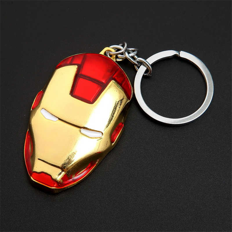 Anime Iron Man máscara llavero Marvel vengadores Ironman Metal llavero colgantes figura de acción superhéroe juguetes muñeca