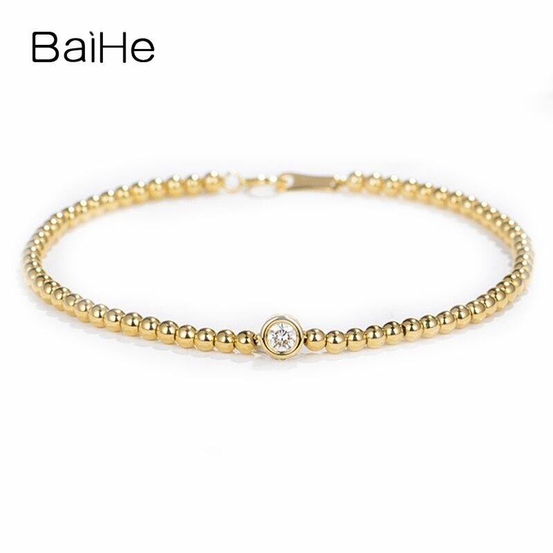 BAIHE Solid 14K Yellow Gold 0.15ct Certified H/SI Round 100% Genuine Natural Diamond Engagement Women Trendy Jewelry Bracelet trendy letter heart round rhinestone bracelet for women