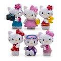 Novo 2017 Crianças Bebê Brinquedos do bebê Marca de Moda Dos Desenhos Animados Figuras de Ação 6 Pçs/set Gato Bonito Bonecas De Plástico Diy Bonecas Brinquedos Juguetes F022