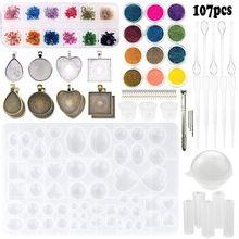Molde de resina de silicone para joias, conjunto de ferramentas de pingente diy, acessórios para iniciantes, colar, pulseira, fabricação de joias, 107 peças