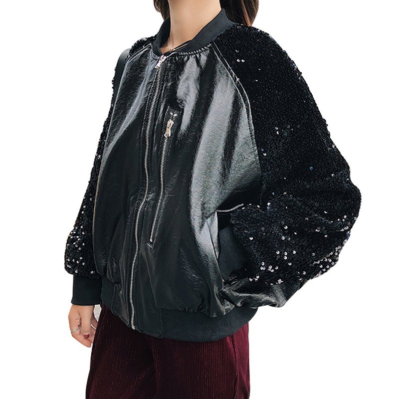 PU Leather Sequins Patchwork Women   Basic     Jackets   Fashion Streetwear Zipper Outerwear Autumn Winter Loose Motorcycle Leather Coat