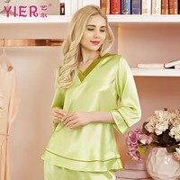 YIER бренд шелковые пижамы для женщин; Большие размеры 16 Momme Половина рукавом V шеи Роскошные Женское ночное белье домашняя одежда Бесплатная